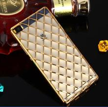 Grid Pattern electroplate tpu Case for Huawei Ascend P8 / Lite / Mate 7 / 8 plating Cover Rose Gold Silicone Clear Mobile Shell