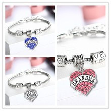 Fast shipping Engraved Grandma Family Gift Love Heart Rhinestone Crystal Charm Pendant Silver Bangle Bracelet Women Lady Jewelry(China)