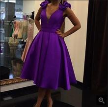 2017 free shipping purple satin a line short prom dress tea length sleeveless with flower elegant prom gowns best selling
