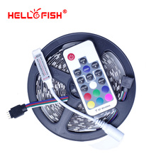 Hello Fish High Quality 5M 300 SMD 5050 LED Strip and RF Wireless Controller kit Flexible LED Tape kit(China)