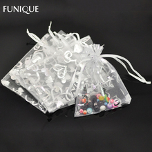 FUNIQUE Jewelry Bags 2016 New 100PCs White Heart Organza Bag Wedding Party Gift BagsFor Christmas Storage Pouches 9x12cm