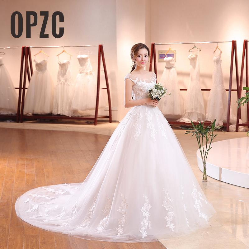 Long Train Cap Sleeve Embroidery Lace Wedding Dress 2017 New Arrival Sweep Brush Train Princess bride Gown Vestido De Noiva