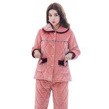 Newest Winter Thick Warm Women Flannel Pajamas Set Coral Fleece Pyjama Comfortable Soft High Quality Women Pajamas Free Shipping(China)