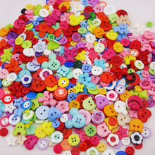 Free Shipping 100psc/lot candy-colored plastic resin combination Button Buttons Sewing DIY craft decals for children PT98(China)