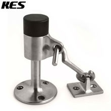 KES Stainless Steel Contemporary Safety Door Stop with Hook Door Holder Doorstop with Sound Dampening Rubber, Brushed, HDS211-2