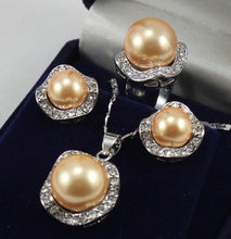 LiiJi Unique Wedding Jewelry Set South Sea Shell Pearl Earring Necklace Ring 18KGP Jewelry Set(China)
