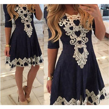 Womens Evening Party Dresse Casual O-Neck Summer Dresses Fashion Half Sleeve Women Dresses Sexy Swing Dresses 2017 LD78