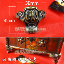 38*31mm Antique pattern furniture legs wooden zinc alloy Wine sides metal foot care Green bronze corners tiger feet Wholesale(China)