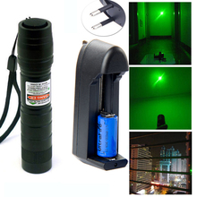 Powerful  Military Adjustable Focus 532nm 200mw Lazer Green Laser Pointer Flashlight  +16340 Rechargeable Battery +smart charger