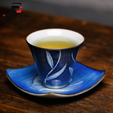 2PCS/Lot Vintage Jingdezhen Blue and White Porcelain Ice Crack Texture Teacup Tray Handmade Kung Fu Tea Cup Mat Art Small Plate