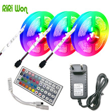 RiRi won SMD RGB LED Strip Light waterproof 5050 leds strip tape diode ribbon flexible DC 12V 5m 10m power adapter set