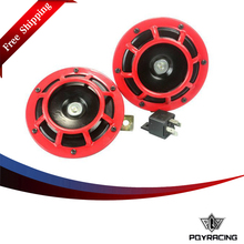 PQY FR shipping- RED 2pcs/1 Pair 12v 110dB SUPER LOUD COMPACT ELECTRIC AIR BLAST TONE HORN FOR MOTORCYCLE AND CAR PQY-LB31
