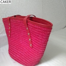 Caker 2017 Fashion Women Red Casual Totes Ladies Handbags Strow Hand-Made Knitting Shoulder Bag Female High Quality Beach Bags(China)