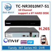 Tiandy 10CH H.265 NVR TC-NR3010M7-S1 1080P Support Onvif p2p and 1pc of 6T Hard Disk Network Video Recorder(China)