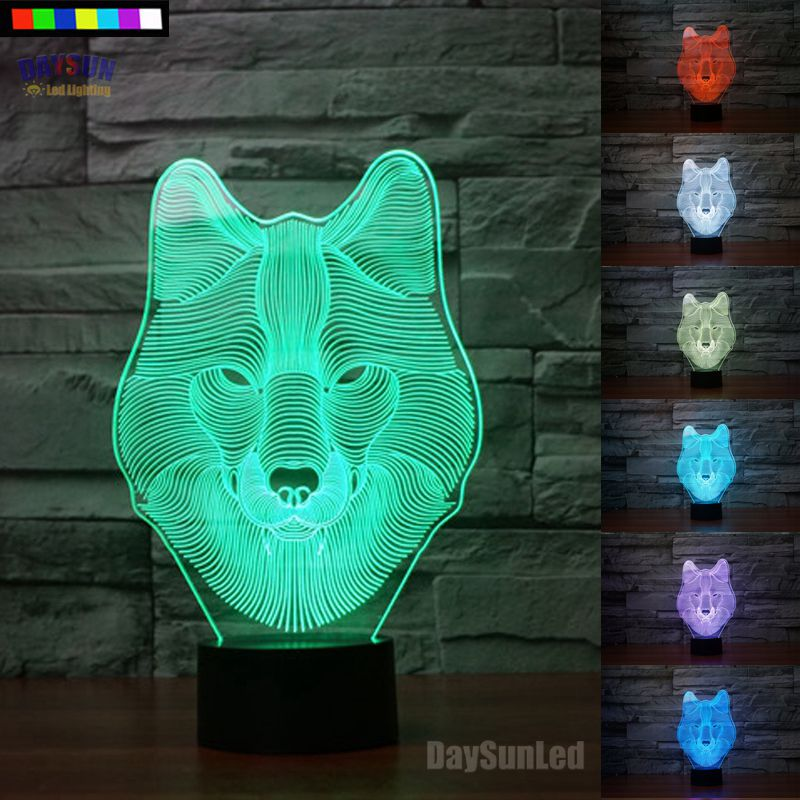 Novelty Wolf 3D Night Light 7 Colors Change LED Table Lamp Gift All Colors Flash In Turn<br><br>Aliexpress