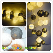 20 Dark gray & White Mix BATTERY POWERED Cotton Ball LED String Fairy Lights Event decor