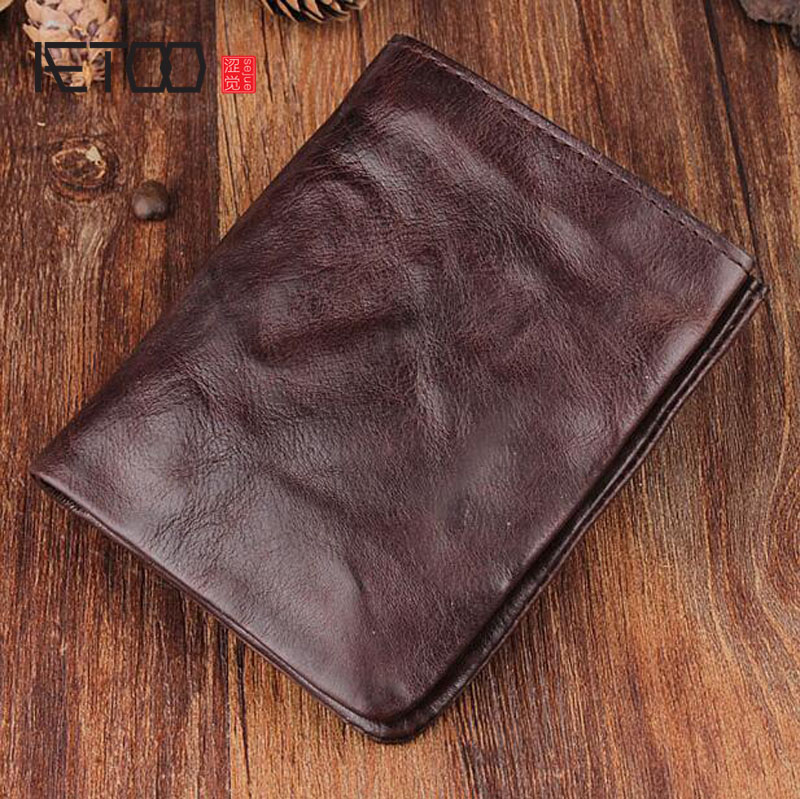 AETOO Vintage hand-fold wallet full leather short paragraph leather men and women wallet vertical section simple youth Vintage <br>