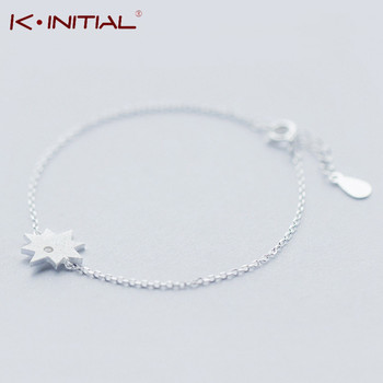 Kinitial 1Pcs 925 Silver Chain Matte Stars Bracelets For Women Fashion Lady Hypoallergenic Sterling-silver-jewelry For Wedding