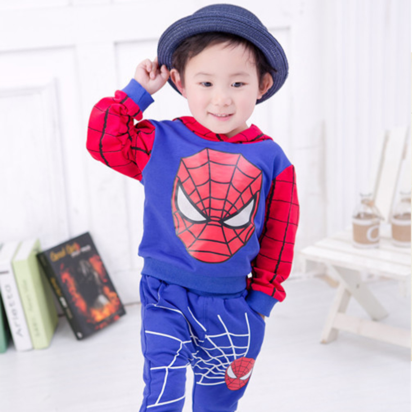 2017 hot fashion boy sets cotton full sleeves printing super hero hooded pullover and elastic pants kids autumn clothing <br><br>Aliexpress