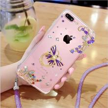 Luxury Crystal Diamond Ring Holder Case Soft TPU Back Cover With Water lace mesh lanyard Phone Protective Case For iphone7 7Plus
