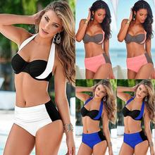 Buy 2018 Sexy Women Bikini Set Swimsuit Halter Splicing Push Swimwear Underwired Padded Bikini Beach Bathing Suit Swim Wear XXXL