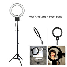 Studio 34cm 40W 5400K Diva Video Ring Light with 90cm Tripod Stand for Photography Camera Phone Photo Make Up Selfie Lighting(China)