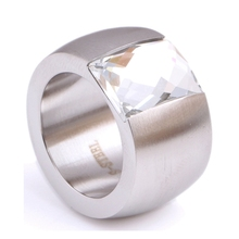 Buy QCOOLJLY Fashion 14mm Luxury Gold/Silver Color Large Stainless Steel Crystal Rings Female Titanium Wedding Finger Ring Women for $3.17 in AliExpress store