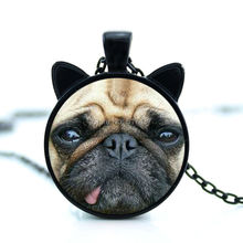 CN-00764 2017 New Pug Necklace Naughty Pug Pendant Dog Face Jewelry Glass Photo Cabochon Necklace HZ2