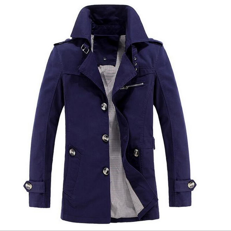 VXO  2018 new autumn men trench coat slim fit stand collar casual military winter coat with velvet M-5XL