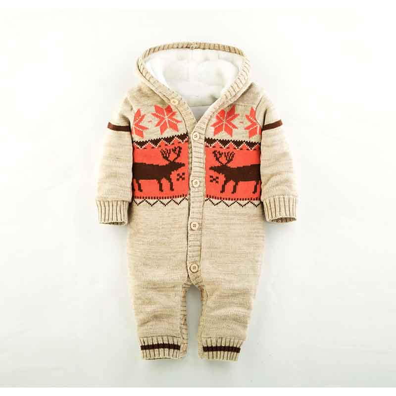 Warm Baby Rompers Winter Thick Climbing Clothes Newborn Boys Girls Romper Knit Sweater Christmas Deer Jumpsuit Hooded Outwear<br><br>Aliexpress