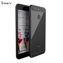 IPAKY for Huawei Honor 8 Pro TPU Frame + Clear Acrylic Mobile Casing Phone Accessory for Huawei Honor 8 Pro / Honor V9 - Black