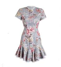 WISHBOP ZIM 2017FW Woman Runway Fashion Bird Floral Print lattice Cut out back Mercer Short dress Flounce Lace HEM Short sleeve