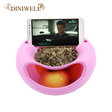 DINIWELL Plastic Food Snack Storage Box Office Desktop Double-layer Circular Melon Seeds Fruits Organizer Mobile Phone Holder(China)