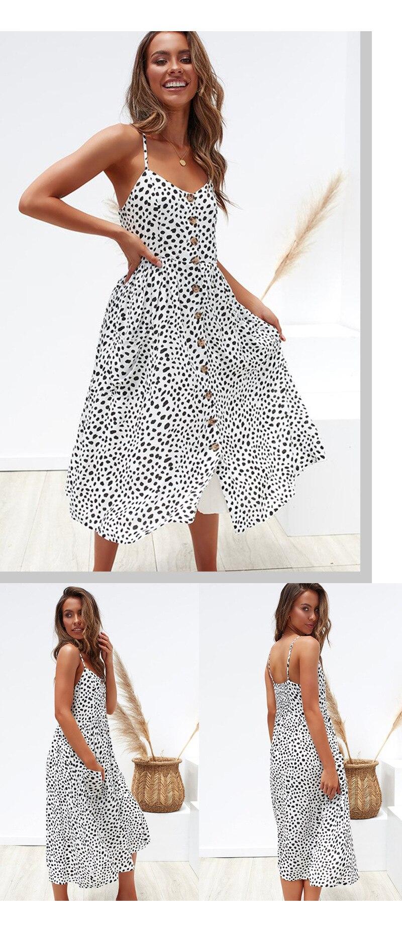 Button Striped Print Cotton Linen Casual Summer Dress