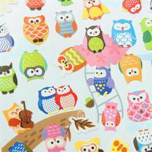 Hot Sale Cute Korea Cartoon Animal Stickers Owl Design PET Material Sticker for Album Photo Scrapbook Switch Home Decoration