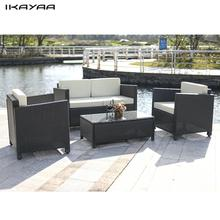 iKayaa 4PCS Cushioned Rattan Garden Furniture Set Garden Sofa Couch Set Wicker Weave Loveseat  2 Pcs Single Sofa Table FR Stock