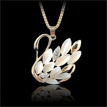 2017 New Hot ! Fashion Fine Jewelry Gold Color Rhinestone Opal Shining Swan Elegant Long Necklaces & Pendants For Women N-95