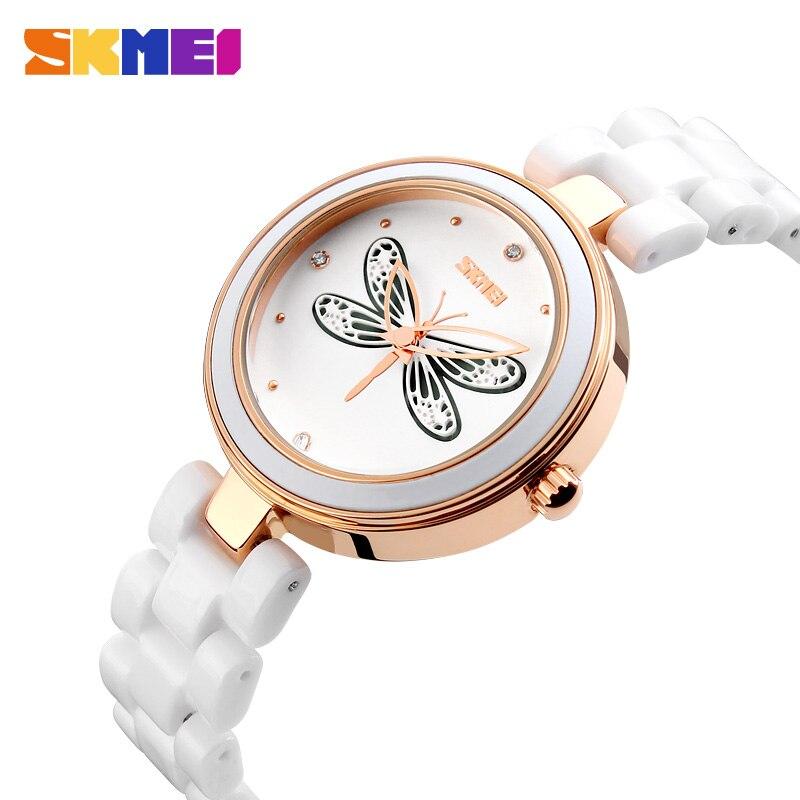 SKMEI Ceramic Quartz Watches Women Luxury Fashion Casual Ceramic Lady Relojes Mujer butterfly Wristwatches Girl Dress Watch 9131<br><br>Aliexpress