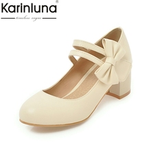 Buy KARINLUNA High 2018 Large Size 31-47 Round Toe Women Shoes Woman Fashion Bowtie Square High Heels Party Wedding Pumps for $25.98 in AliExpress store