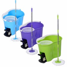 Easy Magic Floor Mop Bucket 2 Heads Microfiber Spin Mop Rotating Head microfiber head for housekeeper cleaning PROMOTION Pedal