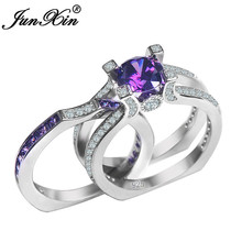 JUNXIN Charming Purple Crystal Zircon Ring Set for Women Fashion Jewelry White Gold Filled Birthstone Double Rings Bridal Sets