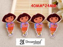 50pcs/lot 40MM x 24MM Cartoon Dora resin flatbacks for hair bow kawaii flat back planar resin for DIY holiday decoration DF-93