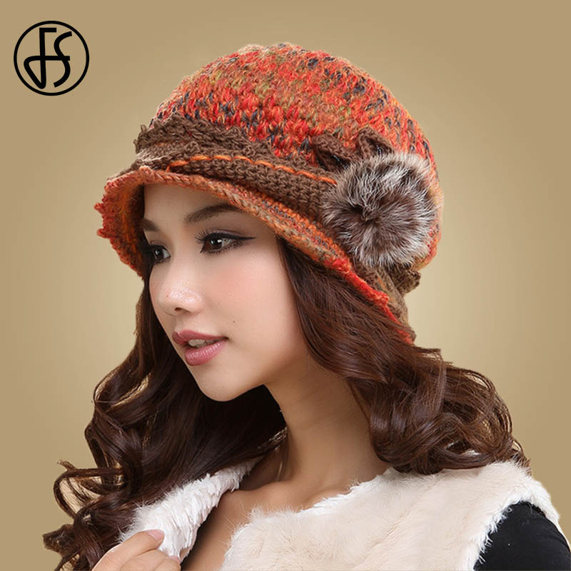 FS Elegant Womens Winter Hat With Pompom Wool Beanies For Ladies Warm Cap Skullies Thicken Double Layer Thermal Knitted Hats