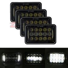 "4pcs 4x6"" LED Square Truck Headlight with DRL Head lamp 4x6Inch Truck Projector Daymaker Replacement Lamp with Hi/Lo Beam Lights"
