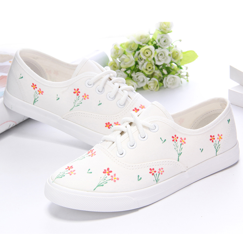 Girls Hand-painted canvas shoes with flat heel white shoes lace all-match Students Leisure Arts shoes flower strawberry bunny<br><br>Aliexpress