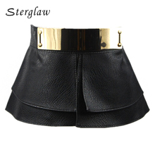 Top female Mirror buckle Belts for women decorative corset belt lady Leather skirt style ladies wide belt womens ceinture A007