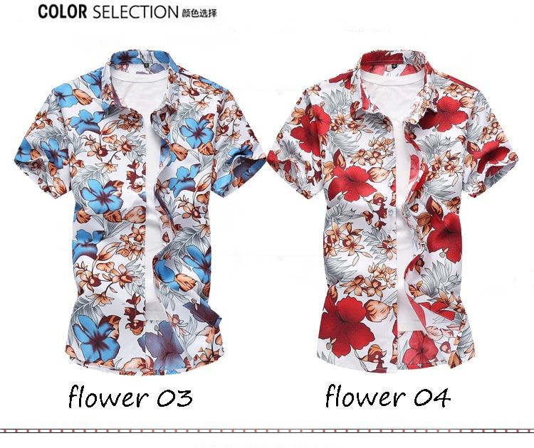 2018 Short Sleeve Mens Hawaiian Shirt Male Casual Camisa Masculina Flower Print Beach Summer Shirts Brand Clothing Men Plue Size 12