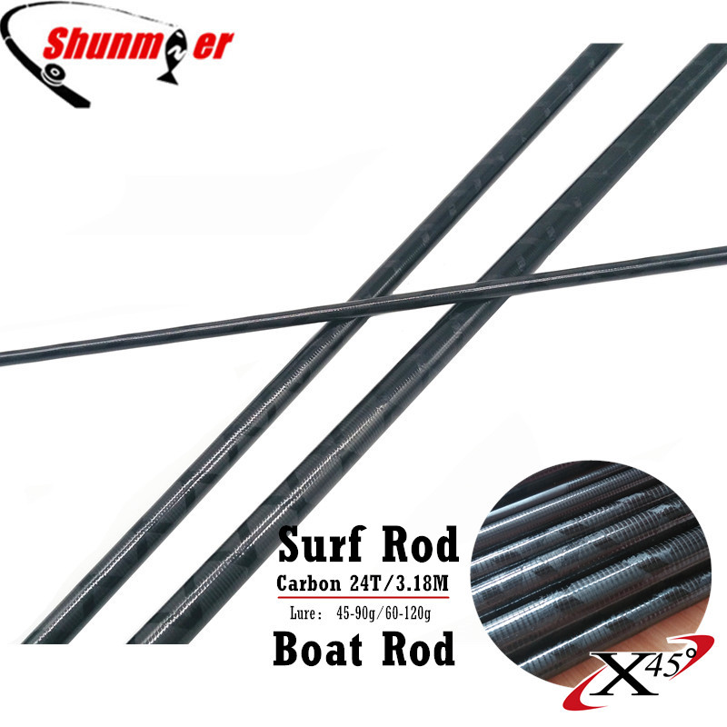 SHUNMIER 2Set 3.18M 3Sections 24T Fast Action Carbon Fishing Rod Blank DIY Boat Rod Surf Pole Repair Olta Carbon Fiber Rod Pesca<br>