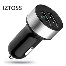 IZTOSS New Black+Silver Hot Duoble Auto Car USB Charger For iPhone 5 5s 6 Charging Adapter Short Circuit Protection Cigar Socket