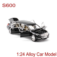 Luxury Cars S600 Alloy Car Static Model 1:24 Sports Car Supercar Collection Model Color Box Toys Gift(China)